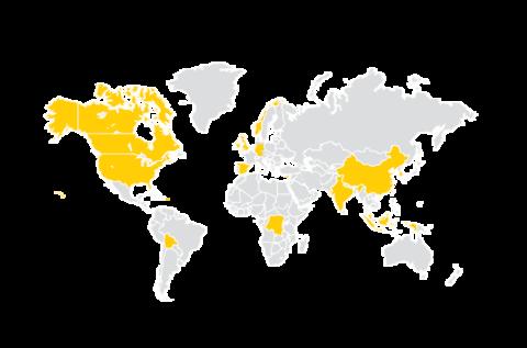 Map of World with Iowa Graduates Spring 2018
