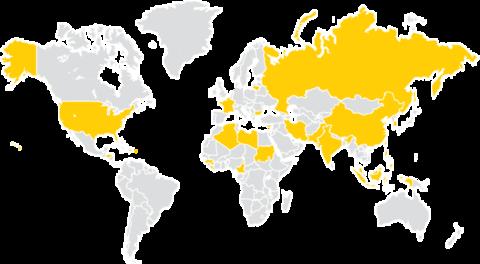 Map of World with Iowa Graduates Fall 2017