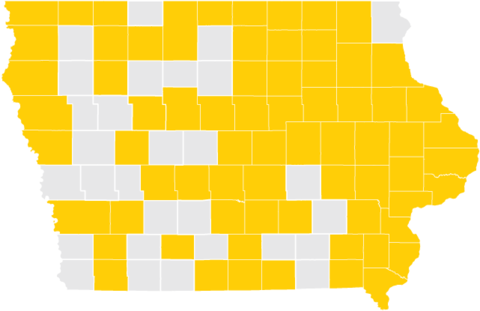 Map of Iowa Counties with Fall 2017 Graduates