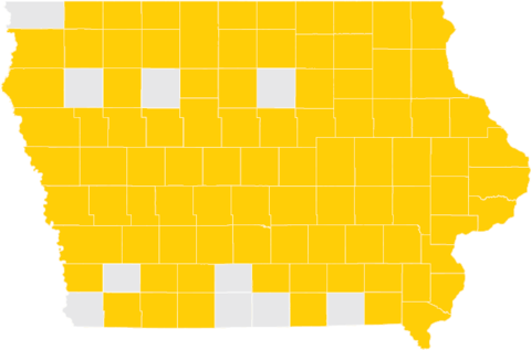 Map of Iowa Counties with Spring 2018 Graduates