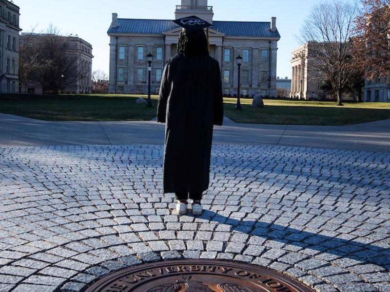 Grad by Iowa Seal on Pentacrest