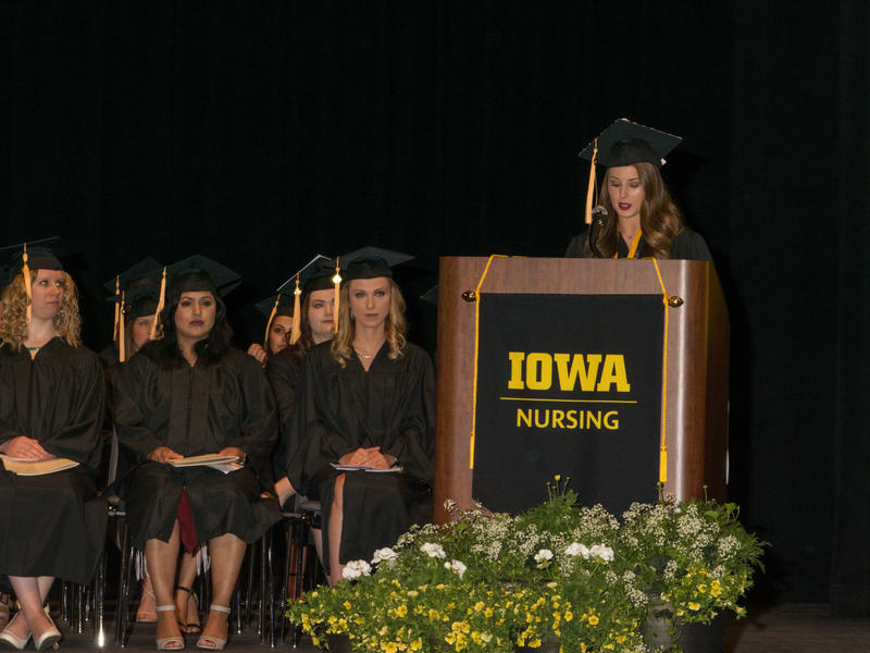 Nursing Graduate Speaker at Hancher Podium