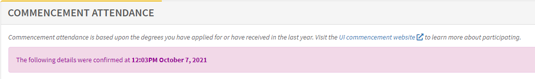 image shows commencement attendance submission confirmation message when the RSVP is saved.