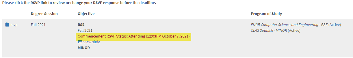 Image shows RSVP confirmation message on the student's commencement panel in MyUI