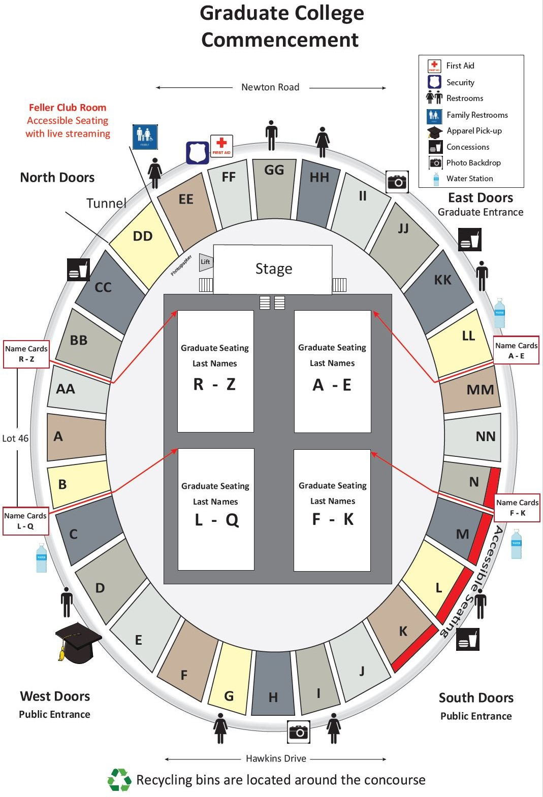 Graduate College Masters Ceremony Seating Map
